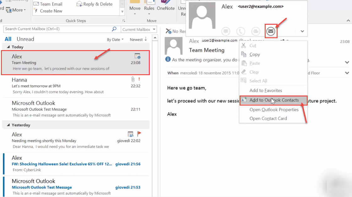 outlook 2016 11 add email contact