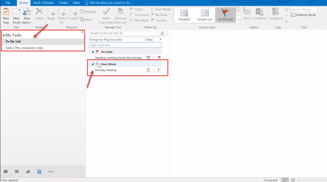 outlook 2016 18 display new task