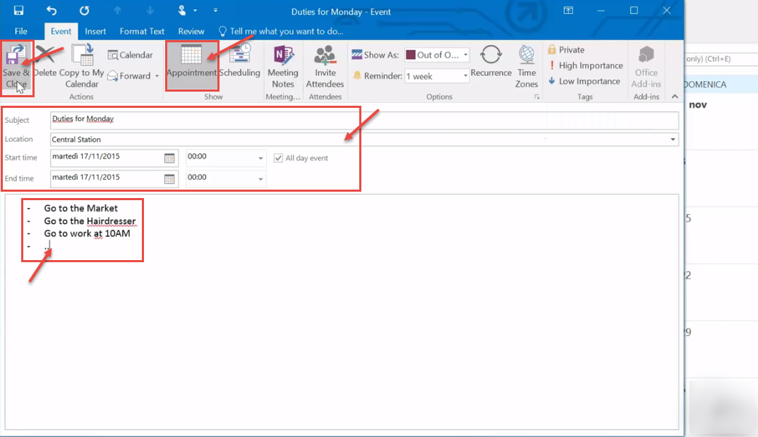 outlook 2016 3 save appointment