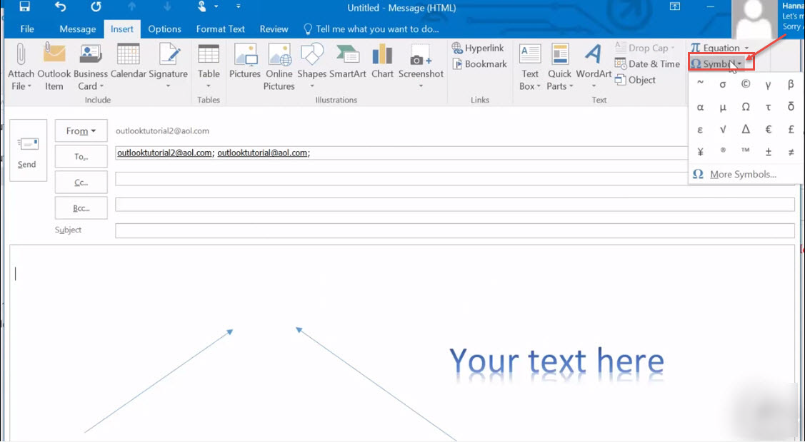 How To Use Insert Feature While Composing Email In Outlook Outlook Support