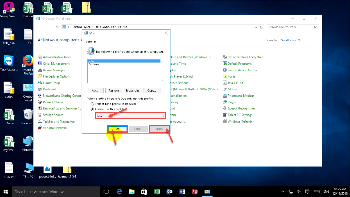 how to reset outlook 2016 to default settings