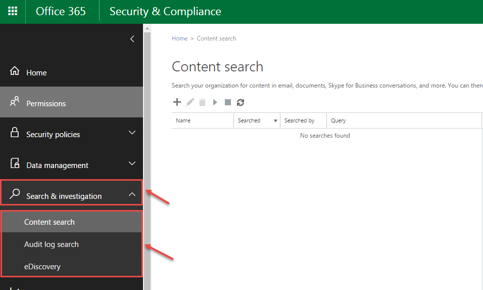 office 365 7 search investigation